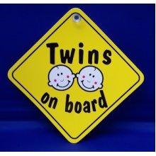 Yellow Twins On Board Diamond Window Hanger - Car Hanging Sign Sucker -  twins board car window hanging sign sucker
