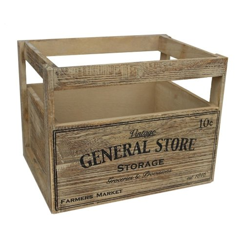 Medium Wooden Storage Baskets with General Store Printing