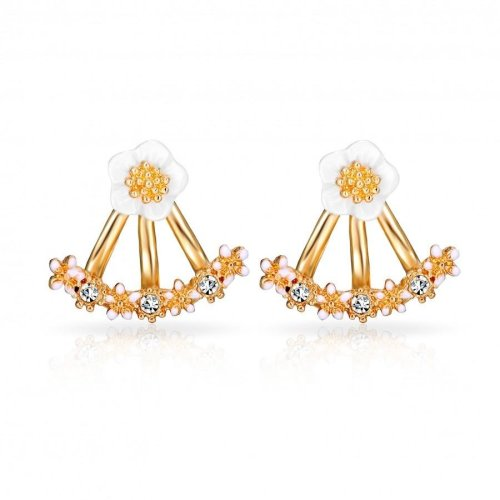 d6114a1ba Gold Plated Daisy Jacket Earrings Created with Swarovski Crystals on OnBuy