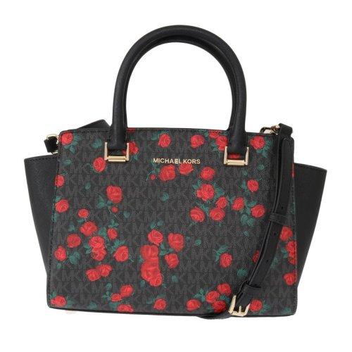 662ae4585c0d Michael Kors Handbags Black Red SELMA Leather Messenger Bag on OnBuy