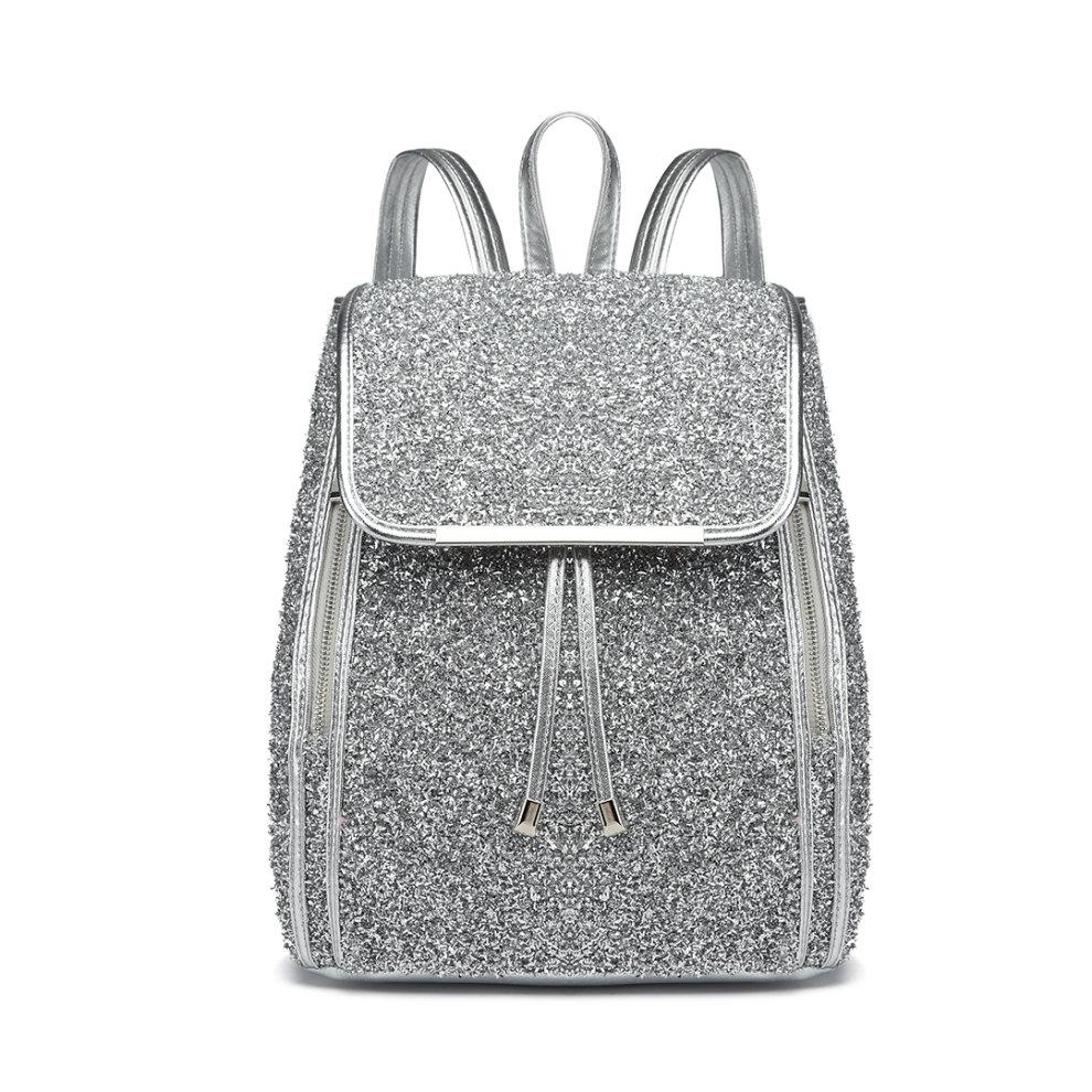 e2d28f051 ... Miss Lulu Women Glitter Backpack Girls School Bag Fashion Rucksack - 2  ...