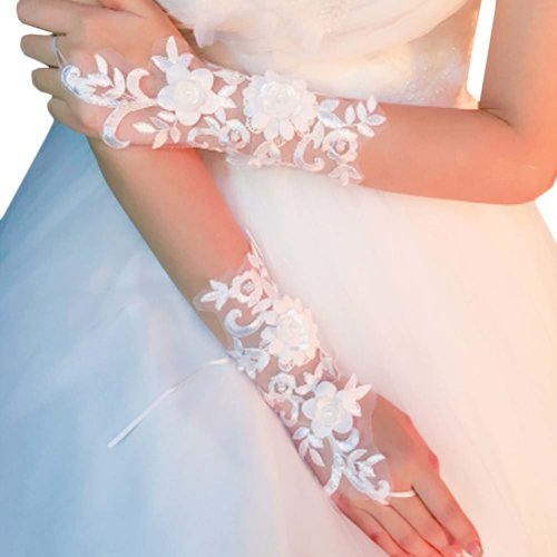 Bridal Wedding Gloves Party Dress Lace Long Gloves A18