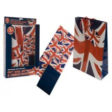 3 Piece Union Jack Gift Set With Gift Bag, Paper & Tissue - Bag Giftbag British -  gift 3 piece union jack set bag paper tissue giftbag british
