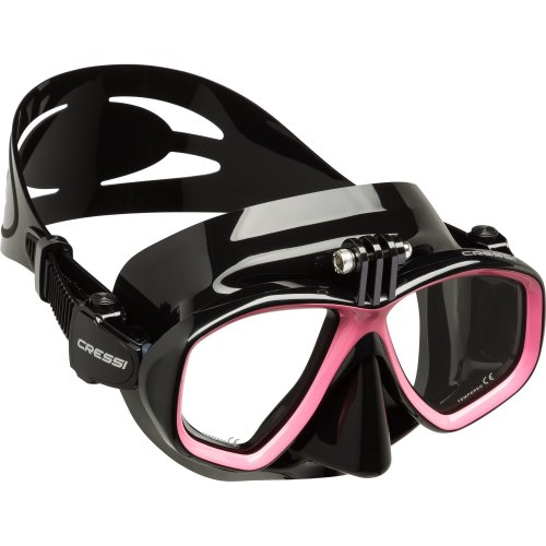 Cressi High Quality Diving/Snorkeling Action Mask with Action Cam Attack, Black/Pink, One Size