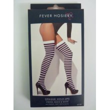 Black & White Striped Stockings -  black white stockings fancy dress striped hold ups accessory opaque ladies hosiery smiffys halloween costume