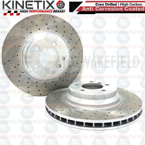 FOR BMW 335d E92 FRONT DRILLED KINETIX PERFORMANCE BRAKE DISCS PAIR 348mm COATED