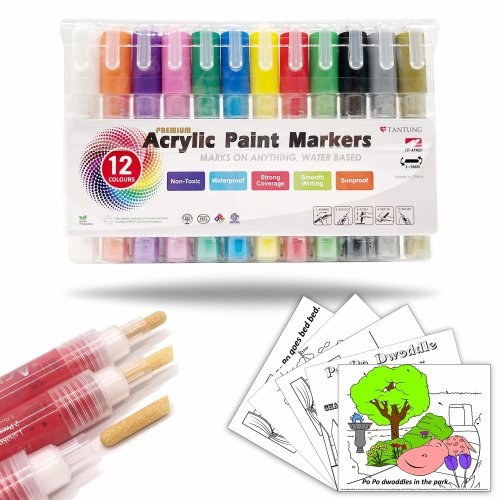 Acrylic Paint Marker Pens Extra Fine Tip Set Pebble /& Rock painting,Scrapbooking