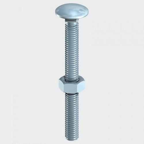 TIMco 0630CB Carriage Bolt and Hex Nut BZP 6.0 x 30mm Box of 200