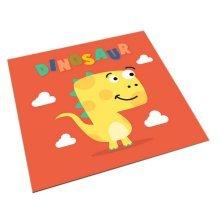 Square Cute Cartoon Children's Rugs, Orange And Cartoon Dinosaurs