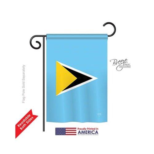 Breeze Decor 58346 Saint Lucia 2-Sided Impression Garden Flag - 13 x 18.5 in.