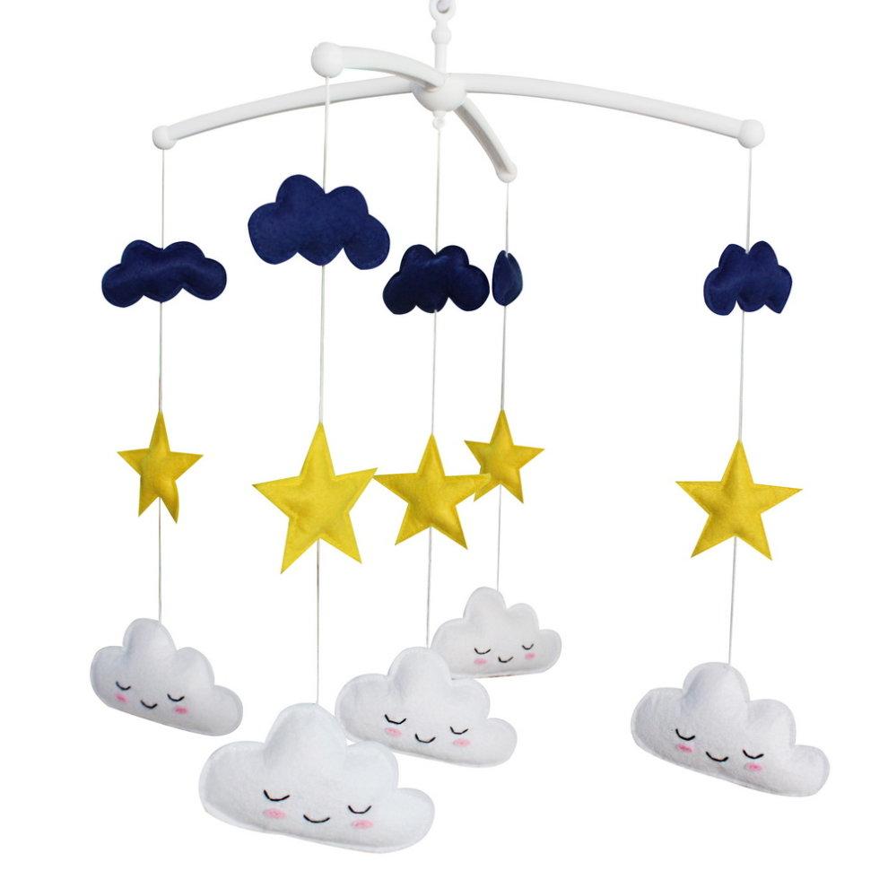 stars clouds musical crib mobile celestial baby mobile. Black Bedroom Furniture Sets. Home Design Ideas