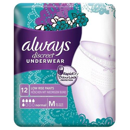 Always Discreet Sensitive Bladder Incontinence Pants Underwear Medium Pack of 12