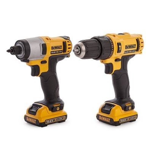 DEWALT DCK218D2T-GB Li-Ion XR Tstak Kit Box Cordless Combi-Drill and Impact Driver, 10.8 V, Yellow/Black, 0, Set of 2 Pieces
