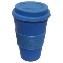 Ecoffee Cup Organic Bamboo Fibre Reusable Coffee Cup Dark Blue 400ml (order 36 for Trade Outer)
