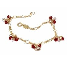 New 9 CT Gold Filled Figaro Link Bracelet with Red and Clear Bead B20