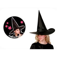 Black Satin Classic Witch Adult Pointy Hat Halloween Costume