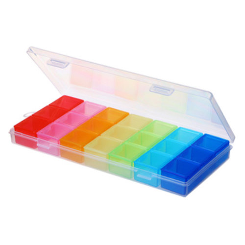 7 Day 3 Times Pill Reminder Medicine Storage Container Pill Case, Rainbow