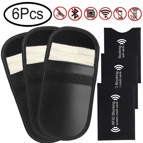 Car Key Signal Blocker Cases, Defrsk 3 Pack Signal Blocker Pouch with 3 Pack RFID Blocking Sleeves for Keyless Car and Credit Card Protector Signal...