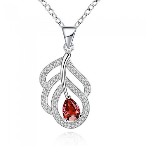 Inaaya Crystal Necklace in Silver/Red Colour