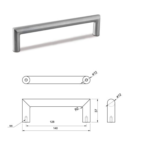 SMALL DOOR PULL HANDLE Stainless Steel C Bar Straight Bolt Fixing 128mm Pack of 25