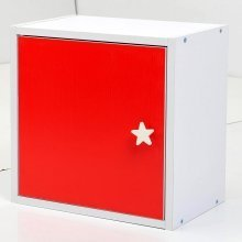 Homcom Wooden Wood Storage Cube Unit Cupboard Cabinet Home Office Furniture-white/red?