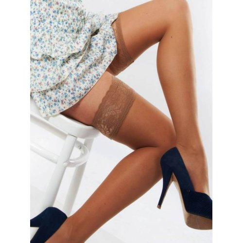 Trasparenze Rosy Lace Top 20 Denier Hold Ups Stockings (Size 2 = 4ft 9in to 5ft 9in, Playa - Beige)