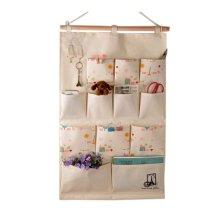 12-Pockets Zakka Wall Door Hanging Storage Bag Case Home Organizer, D