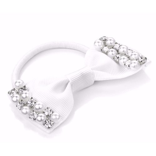 Hair Elastic 2 Cream Ivory  pearl Bows Wedding-Bridesmaid-party style