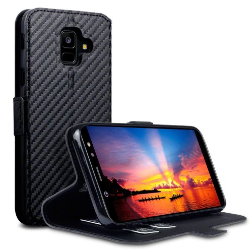 cheap for discount eeee1 819db TERRAPIN Samsung A6 2018 Case Samsung Galaxy A6 2018 Leather Case Wallet  Flip Cover - Ultra Slim Fit - Viewing Stand - Card Slots - Black Carbon...