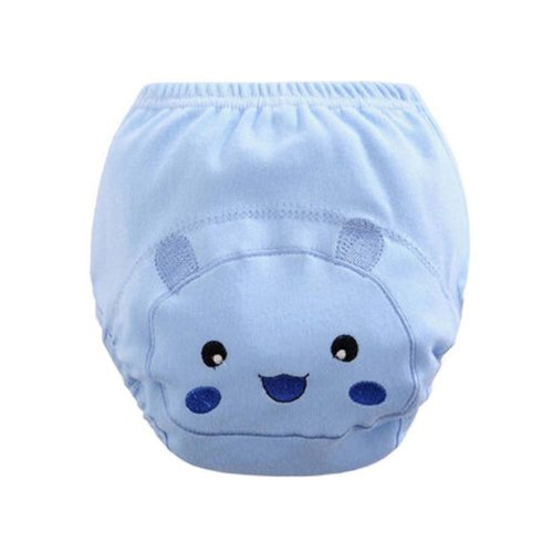 Set of 2 Blue Color Smile Face Pattern Baby Cotton Training Diapers, M