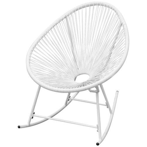 vidaXL Garden Rocking Chair Poly Rattan White Oval Patio Sun Lounger Seat