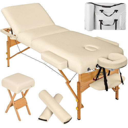 3-zone massage table 10 cm padding + rolls + stool + bag beige