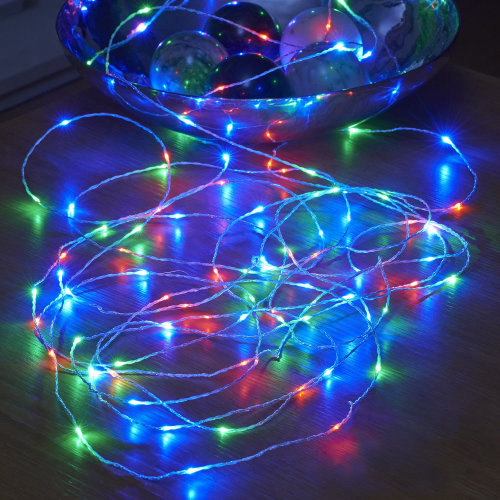Auraglow Battery Operated 50 Micro LED Outdoor Fairy String Lights RGB