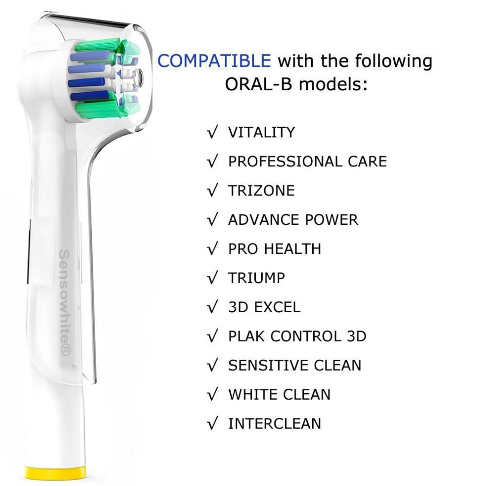 Oral B Compatible Replacement Toothbrush Heads - For Braun OralB electric  brush - 8 Pack includes hygenic travel cover caps