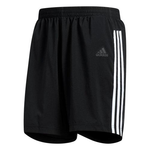 "adidas Run 3-Stripes Mens 5"" Running Fitness Short Black/White"