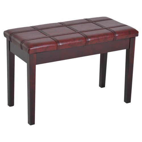 HOMCOM Faux Leather Piano Stool Keyboard Double Duet Bench Seat with Storage 75L x 35W x 49H (cm) - Wine Red