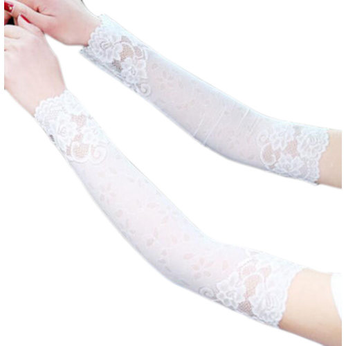 Lace Outdoor Sunscreen Clothing Women Wristbands Breathable Sun Protective Sleeves 38 CM-White