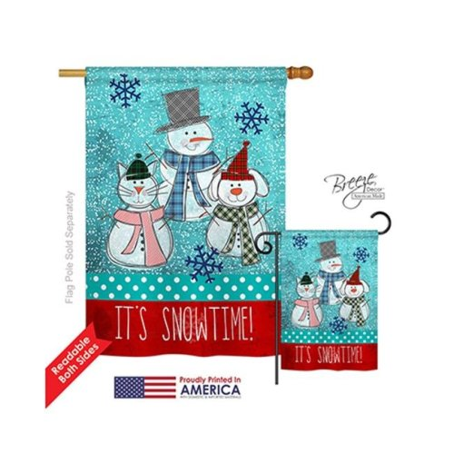 Breeze Decor 14110 Winter Its Snowtime 2-Sided Vertical Impression House Flag - 28 x 40 in.