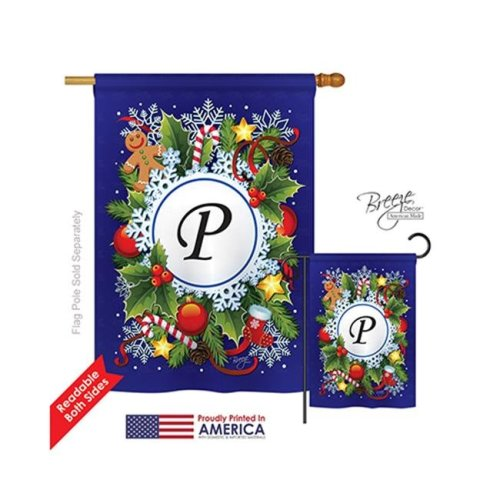Breeze Decor 30094 Winter P Monogram 2-Sided Vertical Impression House Flag - 28 x 40 in.
