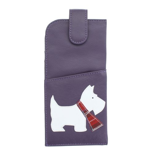 Mala Leather Best Friends Collection Soft Slim Leather Glasses Case 5144_65 Purple