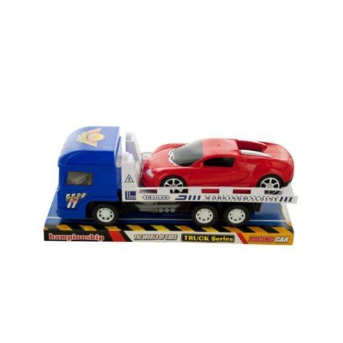 Kole Imports KL228-12 12 x 3.75 in. Friction Trailer Truck with Race Car Set, Pack of 12