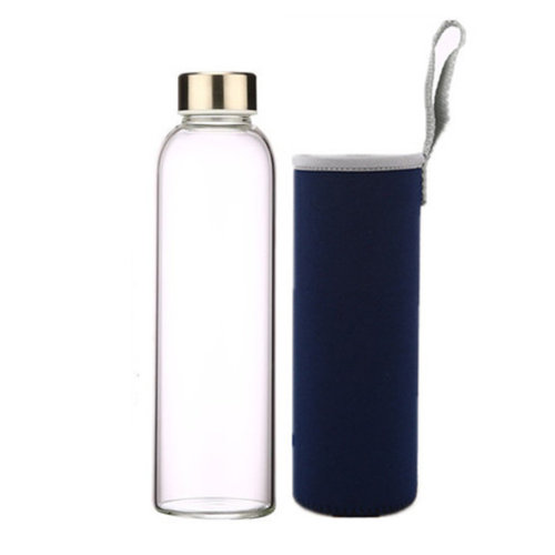 6fe575baef94 Lovely 550 ML Glass Water Bottle With Navy Glass Wrapper (24*6.5cm)