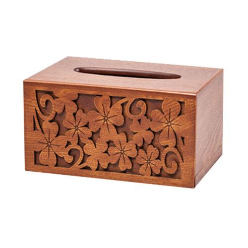 Clover Design Carved Wood Tissue Paper Holder Wooden Tissue Box Cover Rectangle