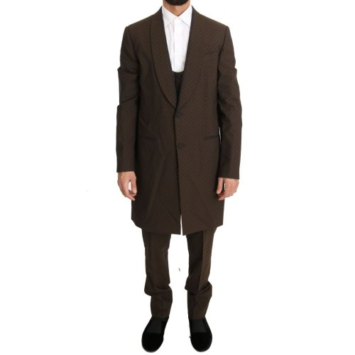 Dolce & Gabbana Brown Wool Stretch Long 3 Piece Suit