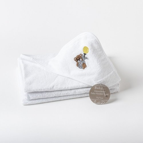 Bear Embroidered Baby Hooded Towel
