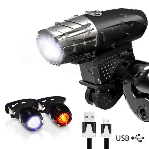 Karrong Bike Lights, LED Bike Light Set USB Rechargeable,Waterproof Front Bicycle Lights Headlight and Taillight,300 LM 4 Modes Cycle Light Safety...