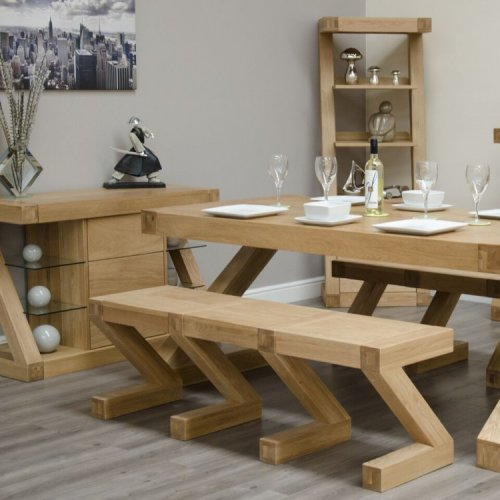 Homestyle Z Solid Oak Furniture Dining Table Large Bench