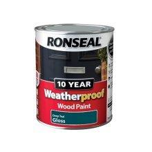 Ronseal 10 Year Weatherproof Exterior Wood Paint 750ml - GLOSS Deep Teal