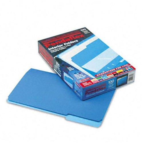 Pendaflex 435013BLU Interior File Folders- 1/3 Cut- Top Tab- Legal- Blue- 100/Box