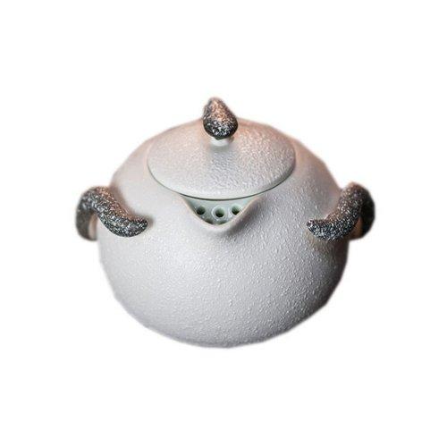 Chinese Featured Snow-shape Creamic Glaze Teapot Mini Kung-fu Tea Kettle